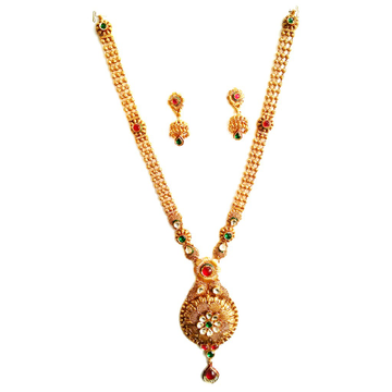 916 Gold Rajputana Antique Oxidised Necklace Set MGA - GLS053