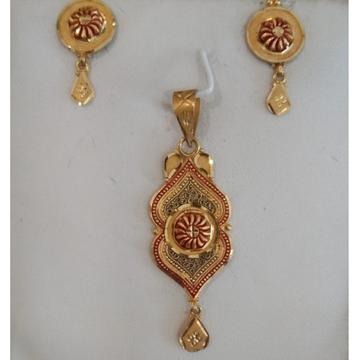 916 Gold Wedding Wear Pendant Set  by