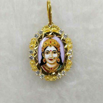 916 Gold Chehar Maa Photo Pendant