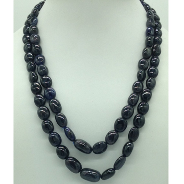 Natural Blue Sapphires Oval Aweja2Layers Necklace JSB0144