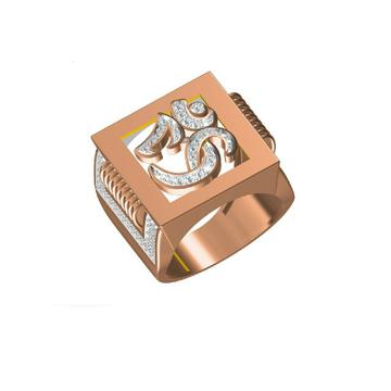18Kt Om Design Religious Rose Gold Men's Ring-31317