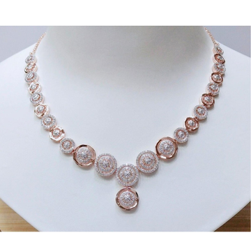 Rose Gold CZ Round Shape Necklace MJ-N011 by