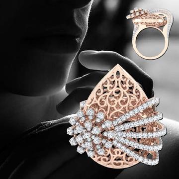18KT Rose Gold Jali Work Degine For Women