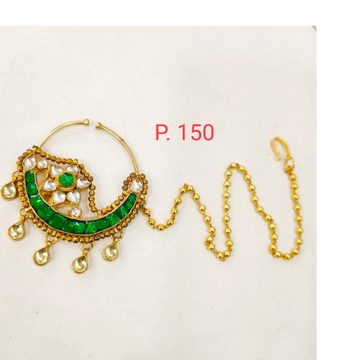 Gold tone kundan Emerald(Green) Nose ring with Beaded chain 1749