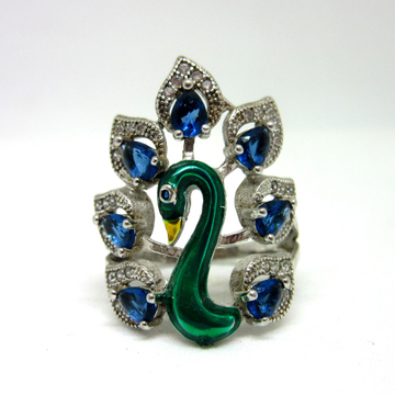925 silver peacock ring sr925-36