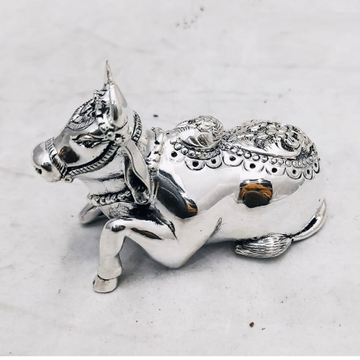 Pure silver nandi in antique finish and solid 180G... by Puran Ornaments