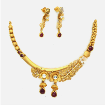 916 Gold Antique Bridal Necklace Set RHJ - 4965