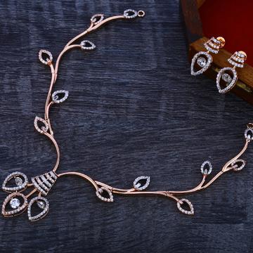 18CT Rose Gold Cz Delicate Necklace Set RN129