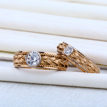 Couple Rose Gold Solitaire 18K Cz RING-RCR05