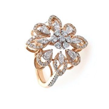 Delicately Designed Flower Ring with Fancy Shaped...