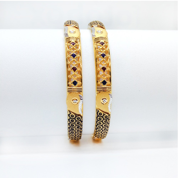 22KT Gold Fancy Machine Cut Bangle