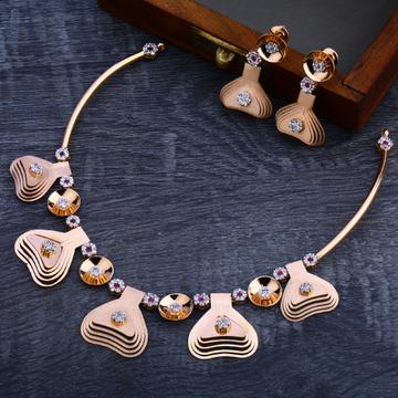 18CT Rose Gold Hallmark Designer Necklace Set RN102