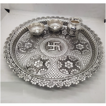 puran hallmarked silver antique aarta thali set in floral motif by Puran Ornaments