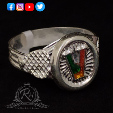 silver latter v gents rings Rh-GR249