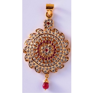 22kt gold close setting cz light weight attractive round pendant mv-p03