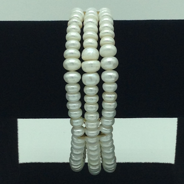 White Flat Graded Pearls 3 Layers Bracelet JBG0096
