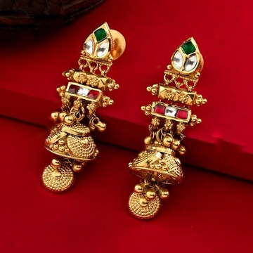 22KT/ 916 Gold antique bridle Jhumka earrings for ladies by