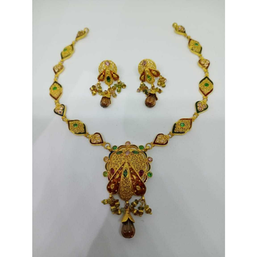 916 gold colorful meenakari necklace set bj-n08