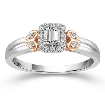 white gold baguette cluster diamond ring by