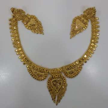 22 kt 916 gold light weight necklace set with earr... by