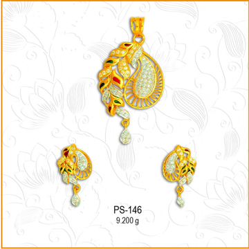 916 Gold Classic CZ Diamond Pendant Set PS-146