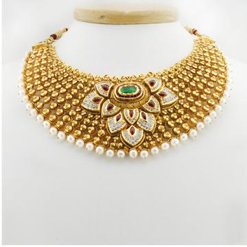 22KT Gold Antique Bridal Necklace Set RHJ-3385
