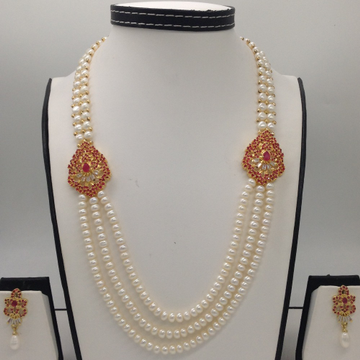 Red And White CZ BroachSet With 2Line ButtonJali And 3 Line Flat Pearls Mala JPS0270