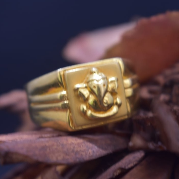 916 Gold Ganesh Design Ring For Men MK-R18 by