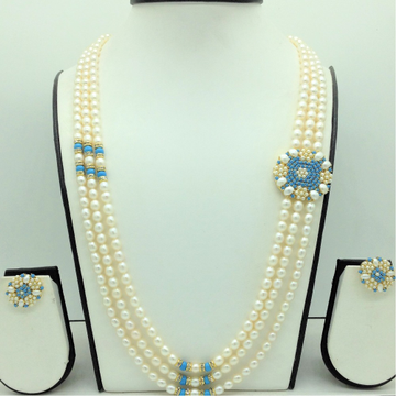 Pearls BroochSet With 3Lines OvalPearls Mala JP...