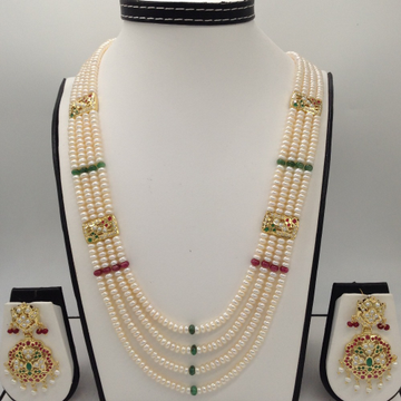 Red, Green CZ And Pearls Amritsar Patti Haar Set With 4 Lines Flat Pearls Mala JPS0468