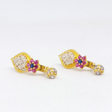 18 KT 750 Gold Daimond Earring type Multi colour B... by Zaverat
