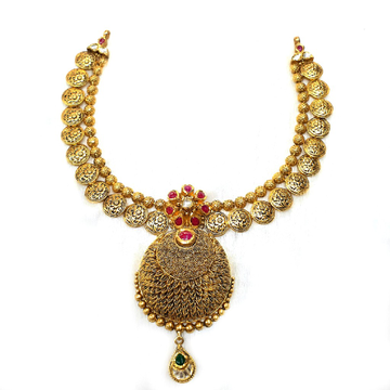 916 gold antique necklace set mga - gn018