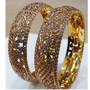 22kt gold close setting CZ Fancy Bangle (patla)