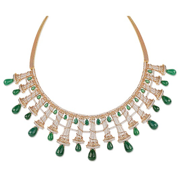 22kt gold and green diamond studded necklace jkn001