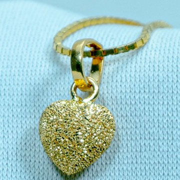 Gold Heart Design pendant Chain P-572 by
