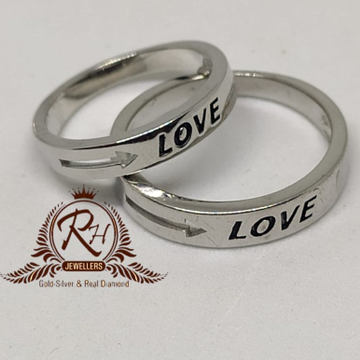 92.5 silver love couple ring Rh-Cr957