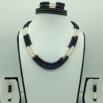 Freshwater Black and White Flat 2 Line Pearls Necklace Set JPP1069