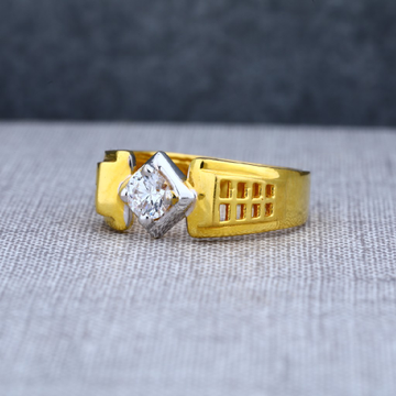 Mens 916 designer solitaire engagement gold ring-msr09