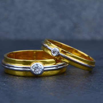 22ct Modern Engagement Gold Couple Ring-CR30