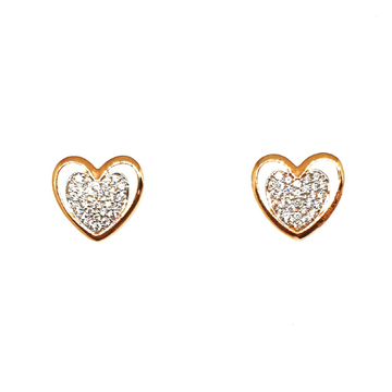 18K Rose Gold Heart Shaped Designer Earrings MGA - BTG0328