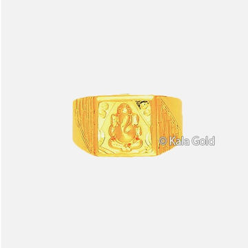 22KT Gold Ganesh Design CZ Gents Ring