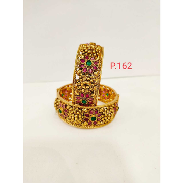 Antique gold plated nakshi work with pink and green stone & screw openable kada 1216