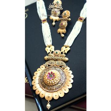 22KT Gold Polki Matte Finished Bridal Long Necklace Set SJ - N006