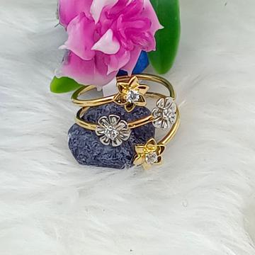 916 GOLD CZ FLOWER PATTERN LADIES RING by Ranka Jewellers
