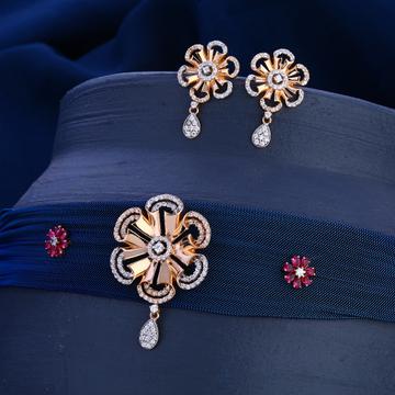 750 Rose Gold CZ Diamond Necklace Set RN303