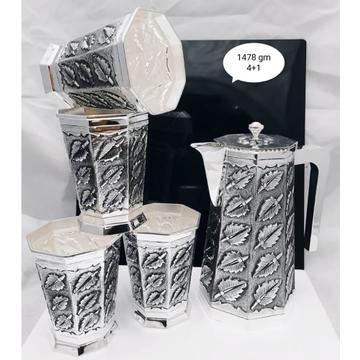 92.5 pure silver leaf designer shape jug glasses s...