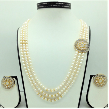 White CZ BroochSet With 3Lines OvalPearls Mala...