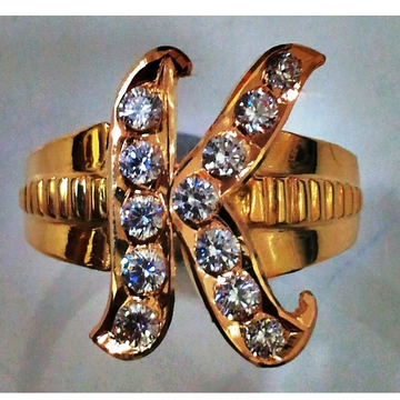22kt gold close setting personalised CZ K initial Gents ring