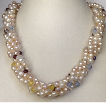 Freshwater White and Pink Button Pearls 5 Layers Twisted Necklace With Multicolour Crystals
