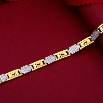 22KT Gold Cutting Piece With Diamonds And Rhodium Bracelet For Men
